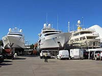 3 Megayachts being Serviced